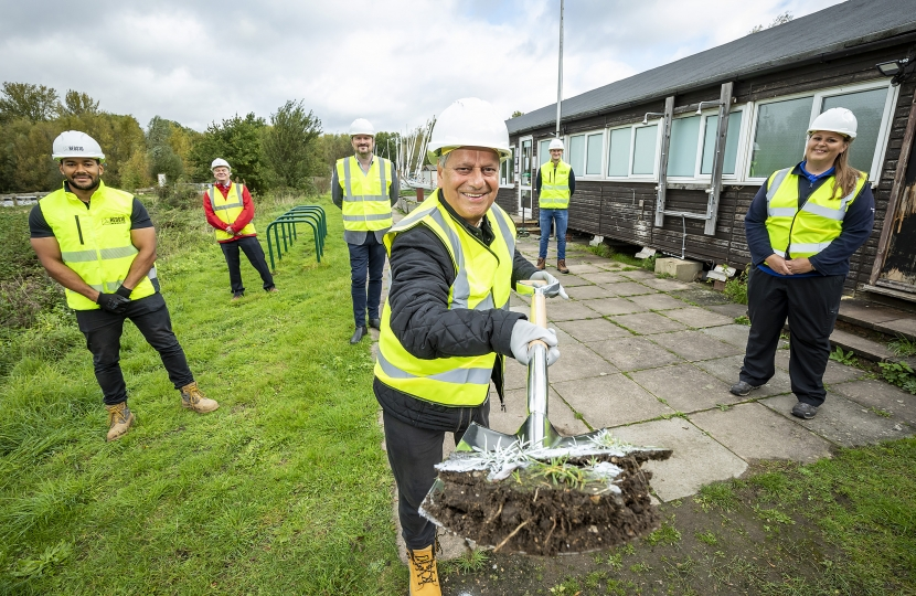 breaking  ground at Dinton Pastures